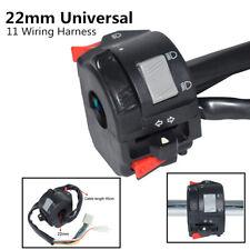 22mm Motorcycle Headlight Fog Light Handlebar Switch Button W/ 11 Wiring Harness