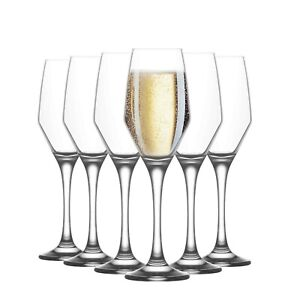 Wide Tulip Champagne Flutes. Long Stem Prosecco Glasses. (Pack of 6) (230 cc/ml)