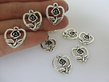 20 x Tibetan Silver Open Heart With Flower Small Charms Pendants Jewelry Finding
