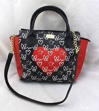LUV BETSEY Johnson Star Heart Ribbon Bow Red Black Faux Leather Satchel Bag New