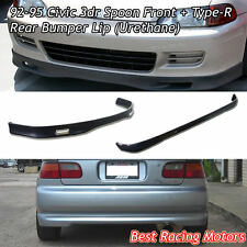 SPN Style Front + TR style Rear Bumper Lip (Urethane) Fit 92-95 Civic 3dr