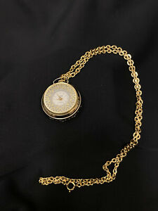 Norman De Luxe Vintage Antimagnetic Wind Up Necklace Pendant Watch Jeweled