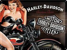 HARLEY DAVIDSON MOTO D'EPOCA PIN-UP GRANDE 3D metallo goffrato firmare