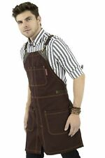 Chef Apron - Strong Canvas, CrossBack, Leather Trim, Split - Chef, Bartender, Sh