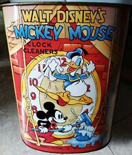 Mickey Mouse Clock Cleaners Disney Metal Tin Trash Can Waste Basket Collectible