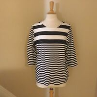 CJ BANKS Fun Navy & White 3/4 Sleeve Shirt -  NWOT - Size P/XL