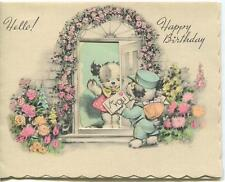 Vintage Garden Roses Arbor Trellis Archway Door B & W Dog Mail Greeting Art Card