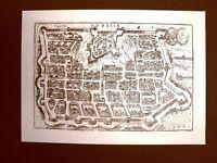 Antica veduta della città di Brescia Incisione del 1616 Ristampa