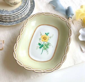 Antique Hand Painted Cake Stand Serving Plate Platter Pastel Embossed edge