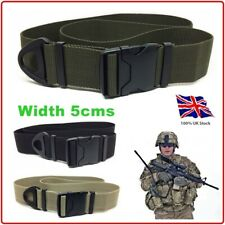 MILITARY Mens Webbing Belt 80-140cms Plastic Buckle Tape 50mms Strap Canvas UK
