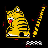 Funny Cartoon Cat With Wagging Tail Reflective Car Wiper Decal Rear Window 3W