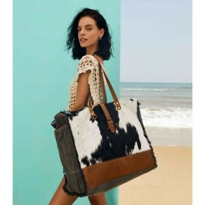 Myra Bag Boho Cowhide Travel Canvas Embossed Leather XL Weekender Beach Tote