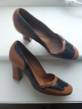 Hobbs Goodison Tan Navy Leather Brogues Heels Court Shoes 60s Size 6/39