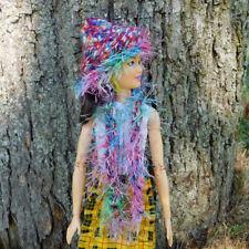 Crochet Hat and Boa Scarf Lot - Cute Artist Made Set Fits Barbie & Fashion Dolls