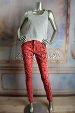 New MINK PINK Hot Pink Orange Black Yellow Art Print Skinny Low Rise Jeans XS