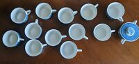 Vintage Currier and Ives Blue & White Royal China Sugar dish 12 Cups  Lot