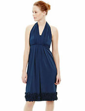 New M&S 5in1 MULTIWAY Uk 8 10 Stretch Laser-Cut Navy Blue Bridesmaid Party Dress