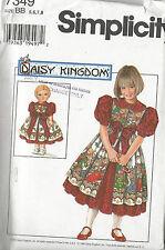 DAISY KINGDOM -DRESS w/ PINAFORE & DOLL DRESS -Simplicity #7349- Girl's Sz 5 - 8