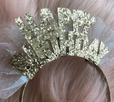New Girls HAPPY BIRTHDAY Gold Glitter Tulle Party Hat Headband Hair Accessory OS
