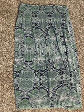 Cabi Reversible Blue Green Long Skirt  #764 Women Size L