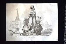 Incisione d'allegoria e satira Costituzione in Germania,Prussia Don Pirlone 1851