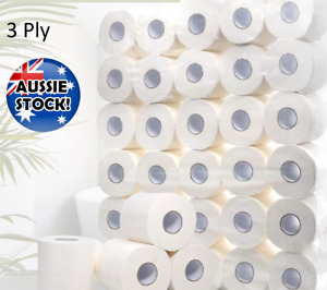 50 Rolls Toilet Paper White Soft Roll 3 Ply Tissue Bathroom