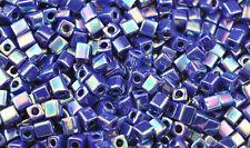 100 MIYUKI CUBE BEADS OPAQUE RAINBOW DK BLUE 4MM