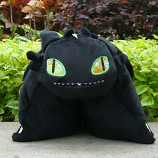 "How To Train Your Dragon Plush Stuffed Cushion Pillow Toothless 15"" Black Dragon"