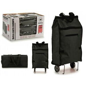 Mini Caddie Chariot de Courses Sac à Provision Noir 2 Roulettes 50x32x15cm