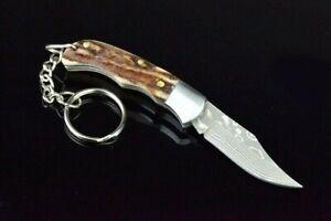 Mini Clip Point Folding Knife Pocket Hunting Survival Tactical Antler Handle EDC