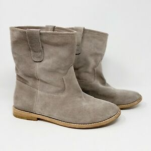 Isabel Marant Womens Crisi Ankle Boots Suede Calfskin Leather Taupe FR 41 US 8