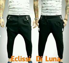 Novità -pantalone uomo  cavallo basso-slim bretelle  hipster  nero grigio s-xxl