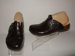Think! Black Leather Rhinestone Clogs Slip-On Shoes Womens Sz.41 / 10-10.5 Cute!