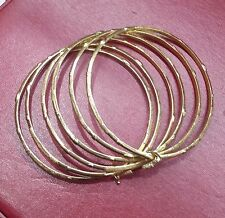 """Stack 6 18K Round Bangle Solid Gold Slip-on Type 2 3/4"""" Diameter Hold by a Clasp"""