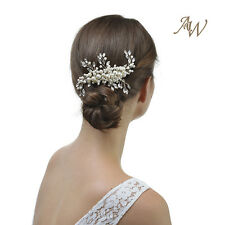 AWEI Silver Wedding Crystal Floral Jewels Hair Comb with Beads and Rhinestones