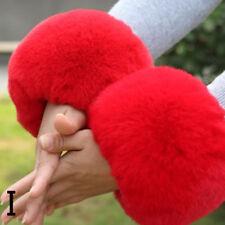 Women Faux Fox Fur Wristband Arm Wrist Warmer Cuff Lap Gloves Muff Winter Fluffy