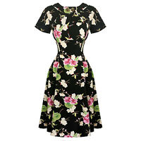 Hell Bunny Freya Black 1940s Wartime WW2 Floral Retro Vintage Victory Dress UK