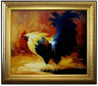 Framed Quality Hand Painted Oil Painting The Rooster 20x24in