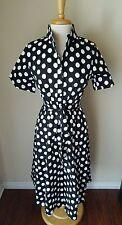 NWT Sapphyra Retro Short Sleeve Belted Black White Polka Dot Shirt Dress Size XL