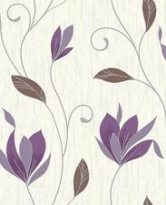 Vymura By Crown Synergy Purple/Plum Floral Motif Glitter Wallpaper (M0778)