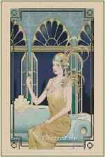 Art Deco Lady w/Martini Glass Counted Cross Stitch Compl