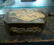 Vintage Decorative Brass Jewelry Trinket Box with Etching Japanese
