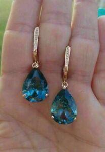 4Ct Pear Cut Blue Topaz Solitaire Drop/Dangle Earrings 14K Yellow Gold Finish