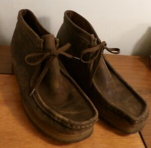Clarks Originals Mens Wallabee Beeswax Brown Leather Chukka Boots Size 9M