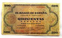 Spain- Guerra Civil. Billete. 500 Pesetas 1938 Burgos. Circulado. Raro y escaso