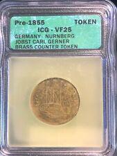 Pre 1855 Germany Nurnberg Jobst Carl Gerner Brass Counter Token ICG VF25