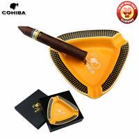 COHIBA Portable Ceramic Cigar Ashtray U-Style Stand Holder for 3 Cigars Gift Box
