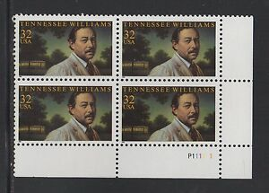 ALLY'S STAMPS US Plate Block Scott #3002 32c Tennessee Williams [4] MNH [STK]