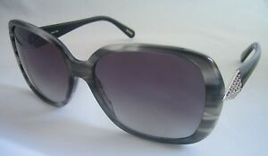 GIVENCHY WOMEN'S SUNGLASSES SGV 828 09T8 GREY STRIPE BLACK BNWT GENUINE