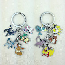 2X Pokemon Metal Keychain Sylveon Vaporeon Flareon Eevee Umbreon Espeon Jolteon